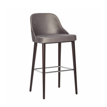 violet barstool gray with wood legs and footrail